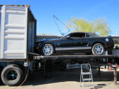 Black Ford Mustang GT Convertible Container Loading Malefors International